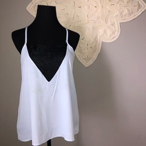 Windsor brand light blue tank top with black lace